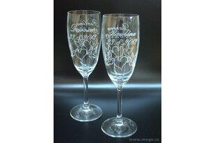 Svatební skleničky s pískovaným motivem