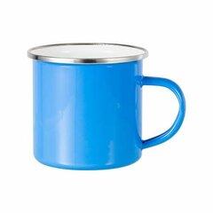 Blue sublimation tin mug 360 ml (silver rim)