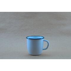 Konische Emaille Tasse - weisse 250 ml BLAUER RAND
